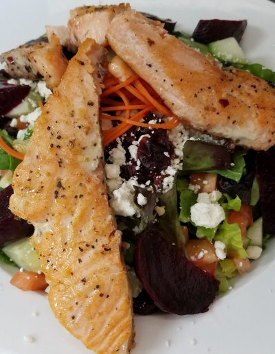 Roasted Beet Salad with Grilled Salmon